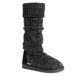 Muk Luks Shelly Sweater Boots Black Marl 10 Bootie
